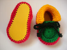 Baby booties. Rasta. Hand crocheted by myself Real leather soles. 4 sizes.