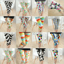 Candy Color Tattoo Floral Print Leggings Stretchy Jeggings Tights Capri Pants