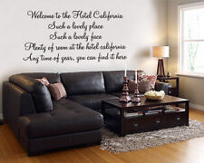 Hotel California (The Eagles) Lyric wall decal sticker quote