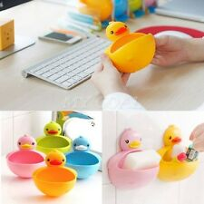 Plastic Duck Shower Soap Dish Toothbrush Toothpaste Holder Suction Cup Bathroom