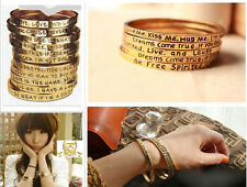 Exquisite LETTER/WORD Bracelet Statement Bangle Wristband Cuff LOVE GIFT 4 Style