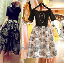 New Europe US Celeb Women Solid Black Top+Floral Pompon Skirt Suit Dress Party