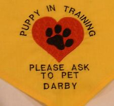 Heart and Paw Puppy In Training Service Dog Ask to Pet Personalized Dog Bandana