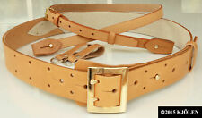 2-3 HOLE PRONG BULLHIDE NATURAL POLISH LEATHER MILITARY ARMY OFFICER POLICE BELT