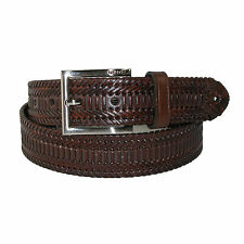 New Nautica Mens Leather 1 3/8 Inch Hand Laced Braid with Burnished Edges Belt