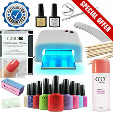 NEW - 4 COLOURS - CCO UV Nail Gel Starter Kit - 36W Lamp + CND Shellac Wraps