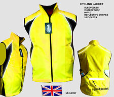 CYCLING JACKET SLEEVELESS HIGH VISIBILITY HI VIZ WATERPROOF RUNNING HORSE RIDING