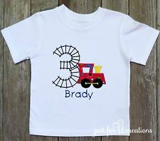 Boy's Infant Toddler Personalized Choo Choo Train Birthday Number T-Shirt