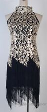 1920's Flapper Dress  Great Gatsby Sequin & Tassel Black Clubwear Dance SGN 3225
