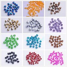 Wholesale 100pcs Faceted Glass Crystal Findings Loose Bicone Spacer Beads 4mm