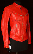 Sienna Red Ladies Women's New Retro Biker Style Real Soft Sheep Leather Jacket