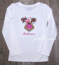 Youth Girl Personalized Christmas Girl Reindeer Glitter Nose Lights LS Shirt
