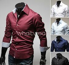 Fashion Mens Pure Color Slim Fit Casual Tops Shirts 5 Colors W1971 GBW