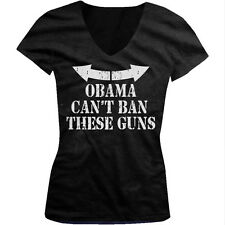Obama Cant Ban These Guns Funny Muscles 2nd Amendment Juniors V-neck T-shirt
