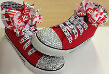 """ONE DIRECTION (1D) RED """"BLINGED"""" HI TOPS (SHOES)..COMPLETE WITH BOWS & LACES"""