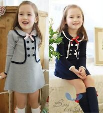 Kids Toddler Girls Clothing Round Pure Color Coat Tops Tutu Dress Skirt Sz 2-7Y