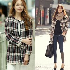 Womens Long Sleeve Plaids Plus Size Loose Knitted Sweater Cardigan Trench Coat