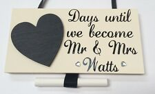Personalised Wedding Countdown - Engagement Gift - Handmade wooden plaque