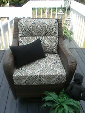 DEEP SEATING CHAIR CUSHION SET-BLACK TAN PAISLEY SCROLL-CHOOSE SIZE-FREE PILLOW