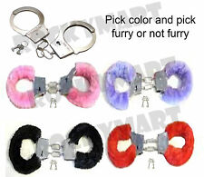 HANDCUFFS Metal & Furry -You Choose Color- Novelty Halloween Costume RM1547