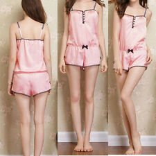 Loose Charming Pajamas Women Girls Pink Camisole Romper Homewear Sleepwear Sexy