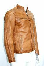 REMO MENS FASHION CELEBRITY CLASSIC  RETRO STYLE TAN WAX REAL LEATHER JACKET