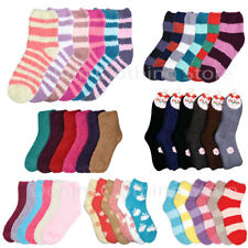 6 12 PAIRS WOMEN TOE PLAIN STRIPES FUZZY SUPER SOFT WINTER SLIPPER SOCKS 9-11