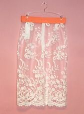 Lace Pencil Skirt See-Thru Floral Mesh Tube Embroidered Zipper Closure White