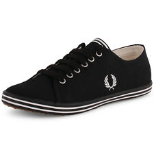 Fred Perry Kingston B3176W Womens Canvas Black Trainers New Shoes All Sizes