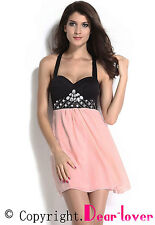 2014 new Black Pink Rhinestone Skater Dress for summer women party wear LC21486