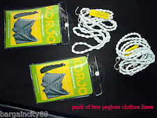 1/2 KORJO Travel Camping Washing Pegless Clothes Line or8Peg Hanging Clothesline