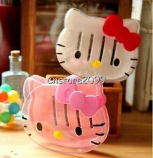 New Cute Hello Kitty Head Shape Bowknot Soap Dish Soap Box Bathroom Soap Holder