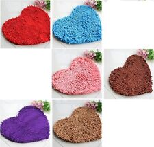 6color Bedroom Door Mat Heart Shaped Carpet Fluffy Chenille Rug Cushion