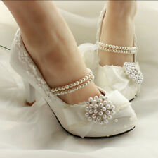 Womens lace pearl bowtie white wedding stiletto high heels bride shoes Mary Jane