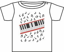 MICHAEL JACKSON T-SHIRT PIANO KEYBOARD BEAT IT VIDEO WHITE BABY TSHIRT 3-24 M