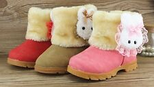Winter Warmer Rabbit Baby Kids Girls Snow Mid-Calf Leather Boots Fleece Shoes