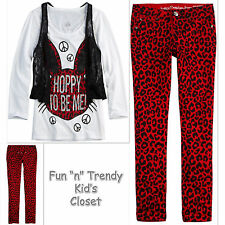 NWT Justice Girls Size 8 10 Lace 2-Fer Top Shirt Vest Skinny Jeans OUTFIT SET