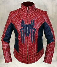 The Amazing Spider Man 2 Real/Faux Men's Leather Costume Jacket in Red & Blue