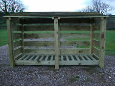 WOODEN DOUBLE BAY LOG STORE /GARDEN STORAGE VARIOUS SIZES AVAILABLE AND OPTIONS