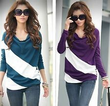 Diagonal Stripes Printed  Maternty Tops Long Sleeve TShirt Casual Womens Tops S