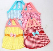 New Plaid Dog Dress Puppy Clothes Pet Apparel Outfit Pink Red Blue Yellow 3 Size