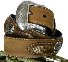 Nocona Western Mens Belt Leather Laced Conchos Brown N2441644