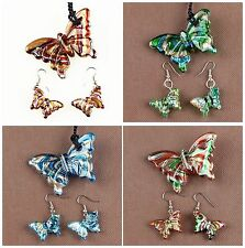 B5631 Three glass lampwork butterfly pendant beads & earring