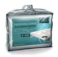"HOTEL QUALITY LUXURY GOOSE FEATHER & DOWN MATTRESS TOPPER, 3"" EXTRA DEEP NATURAL"