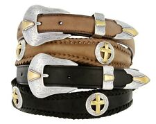Men's Western Gold Cross Concho Genuine Cowboy Leather Jean Belt Black Brown