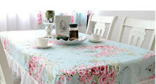 Vintage Chic Rose Floral Blue&Pink Cotton Table Cloth  Ruffles lace Table Decor