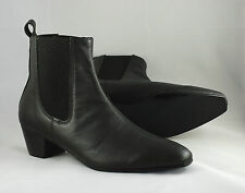 Mens Retro Sole Black Leather Lennon Chelsea Beat Beatle Boots with Cuban Heel