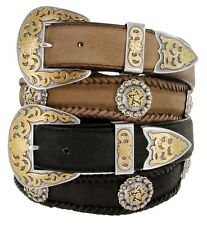 "Gold Coloma Concho Men's Western Leather Belt 1-1/2"" (38mm) Wide"