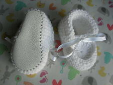 Cotton baby shoes. White. Hand made. Leather soles.Christening. Summer. 4 sizes.