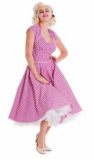Hell Bunny Lazy River Pink / Yellow Gingham Rockabilly 50's Swing Tea Dress 8-14